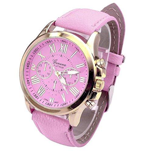 QinMM Reloj de pulsera de cuarzo con esfera de acero inoxidable para mujer (Rosa)
