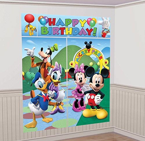 """Disney Mickey Mouse Birthday Party Scene Setters Wall Decorating Kit , Pack Of 12, Multi , 59"""" X 65"""", Plastic"""
