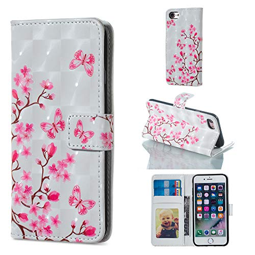 """Amocase Wallet Leather Case with 2 in 1 Stylus for iPhone 6 Plus/6S Plus 5.5"""",Premium Slim Cute 3D Painting Shockproof Magnetic PU Leather Card Slot Stand Case - Pink Butterfly Flower"""