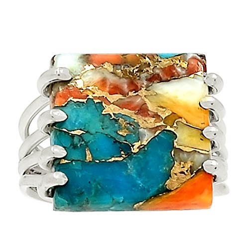 Xtremegems Spiny Oyster & Arizona Turquoise 925 Sterling Silver Ring Jewelry Size 7 22951R -