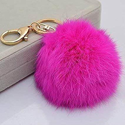 d33a85318be7 Image Unavailable. Image not available for. Color  Miraclekoo Rabbit Fur  Ball Pom Pom KeyChain Gold Plated Keychain with Plush for Car Key Ring