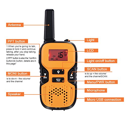 GHB Walkie Talkies for Kids Walkie Talkies Handheld Two Way Radios Mini 22 Channel FRS/GMRS 2.5 Miles up to 4 Miles for Home Activities Camping Outdoor Climbing Orange