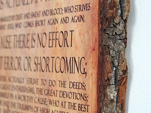 Theodore Roosevelt - Man in the Arena - Quote on Wooden Plaque - Wood Sign by WoodSnacks (Image #2)