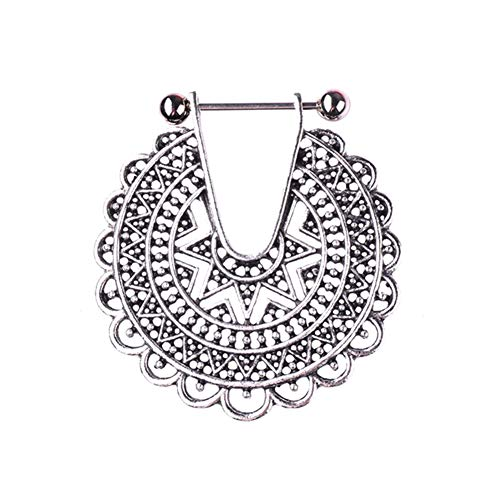 ink2055 1Pc Vintage Boho Women Hollow Drop Nipple Bar Ring Barbell for Women Body Piercing Jewelry Decor - Antique Silver ()