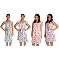 JOTW 4 Pack Nightgown Sleepwear Dress With Rose-Print - Medium To 2XL Available (0077)