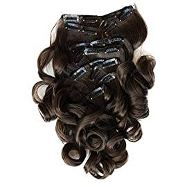 PRETTYSHOP XXL Full Head Set 8 pcs 20″ Clip In Hair Extensions Hairpiece Wavy Heat-Resisting Brunette # 8 CES104-1