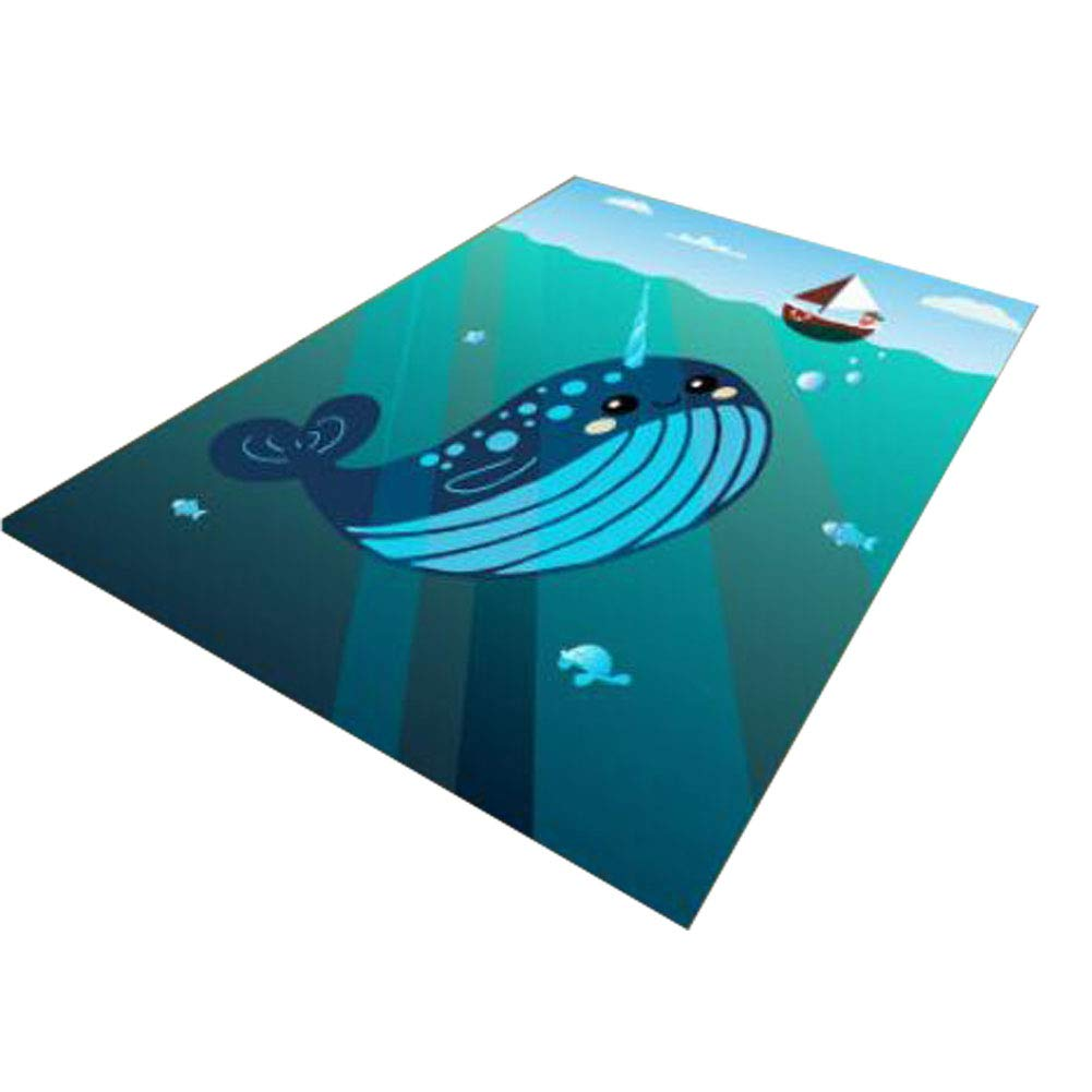 Kids Carpet Play Mat Kids Rug - Colorful Activity Centerp Play Mat Great For Playing With Cars and Toys Learn and Have Fun Safe, Blue Whale