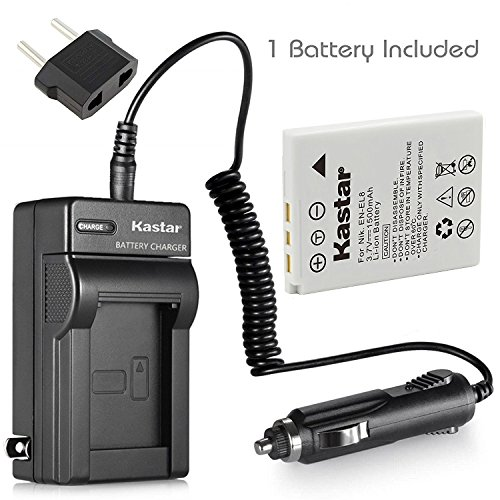 Kastar 1 Pack Battery and Charger with Car Adapter for Nikon EN-EL8 and Nikon Coolpix P1 P2 Coolpix S1 S2 S3 S5 S6 S7 S7c S8 S9 Coolpix S50 S50c Coolpix S51 S51c S52 S52c Cool-Station MV-11 MV-12