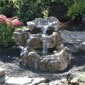 Wonderful Triple Alpine Waterfall Fountain   3 Tiers, W/ 2 Active Waterfalls