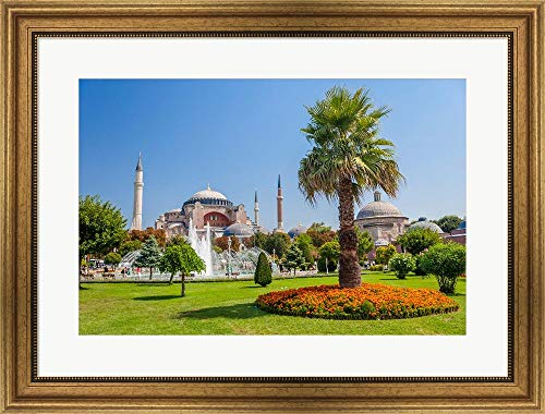 - Hagia Sophia, Istanbul, Turkey by Ali Kabas/Danita Delimont Framed Art Print Wall Picture, Wide Gold Frame, 29 x 22 inches