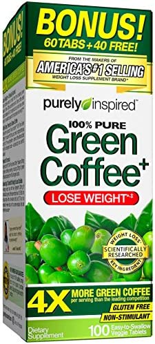 Amazon Com Purely Inspired Green Coffee Bean Weight Loss Supplement Non Stimulant 100 Pure Green Coffee For Weight Loss 100 Count Bonus Size Pin305 Health Personal Care