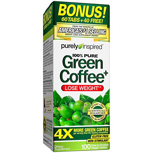 Purely Inspired Green Coffee Bean, Importance Loss Supplement, Non-Stimulant 100% Pure Green Coffee for Weight Loss, 100 Count *Bonus Size*