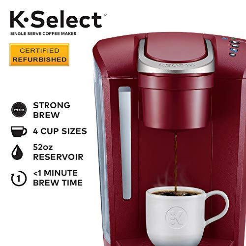 Keurig K-Select Coffee Maker, Single Serve K-Cup Pod Coffee Brewer, With Strength Control and Hot Water On Demand, Vintage Red (Renewed)