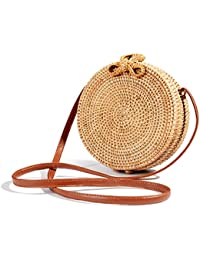 Round Handwoven Rattan Bag Small Straw Bag Beach Shoulder...