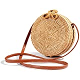 Round Handwoven Rattan Bag Small Straw Bag Beach Shoulder Bag for Women