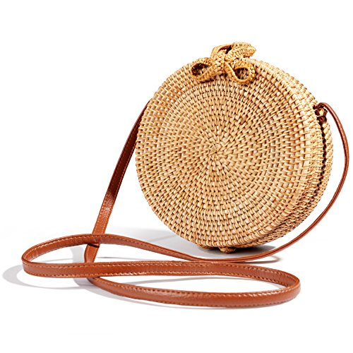 Round Handwoven Rattan Bag Small Straw Bag Beach Shoulder Bag for Women by Vintga