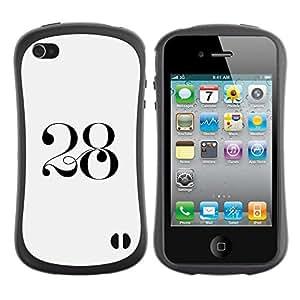 """Hypernova Slim Fit Dual Barniz Protector Caso Case Funda Para Apple iPhone 4 / iPhone 4S [2 8 Negro blanco del arte mítico""""]"""