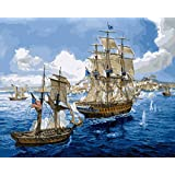 MailingArt Wooden Framed Paint By Number Ship No Blending / No Mixing Linen Canvas DIY Painting - Fleet Two