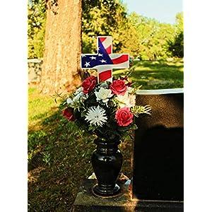 "Solar Lighted American Flag Cross by Eternal Light | Veteran Cross Decoration Heartfelt Cemetery Memorial 14"" x 10"" 3"