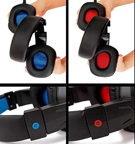 SY860MVヘッドセットUSBコンピュータのヘッドセット賭博インターネットカフェヘッドフォンミュートノイズリダクションヘッドフォン、赤、色名:赤 (Color : Red)