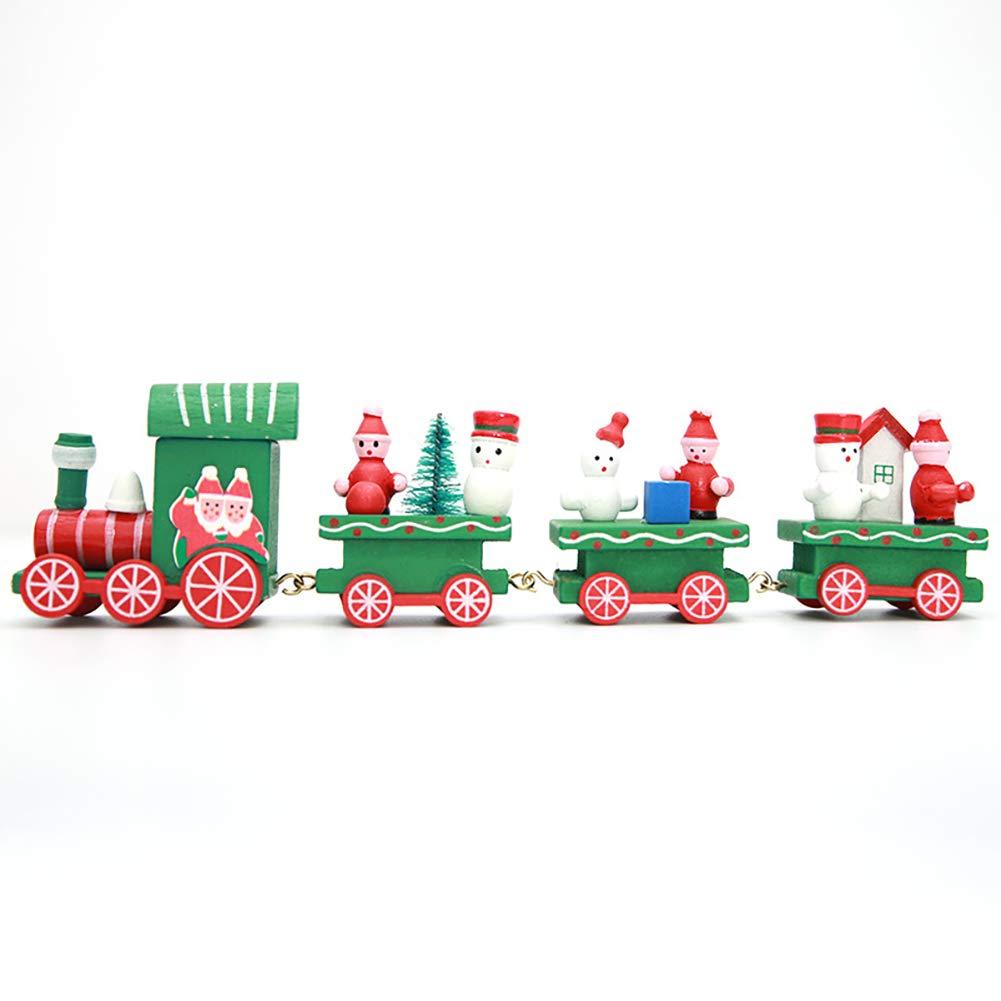 Linda decoración de Madera Kinder Mini Tren Adornos para niños Juguetes del Regalo para la Navidad del Partido (Verde) Xiton