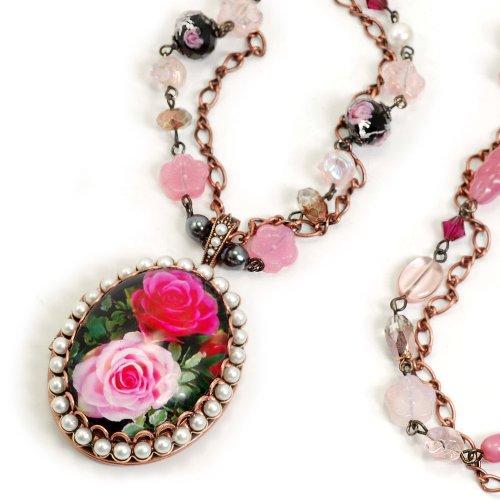 Sweet Romance Painted Rose Locket Necklace