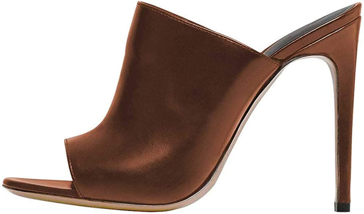 FSJ Wome Pointed Toe Mule Sandals Slide Slippers Stiletto High Heels Loafers Slip on Backless Shoes Size 4-15 US
