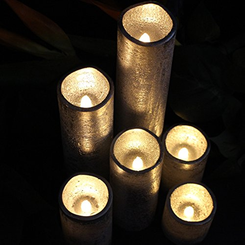 LED Lytes Flameless Timer LED Candles Slim Set of 6, 2″ (inches) Wide and 2″- 9″ Tall, Silver Coated Wax and Flickering Warm White Flame for Home and Wedding Decor
