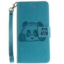 DOOGEE X5 Case, Doogee X5 Pro Case, COOSTOREEU Cute Cartoon Pattern Panda PU Leather Wallet Stand Flip Case Cover for DOOGEE X5 / Doogee X5 Pro, Sky Blue