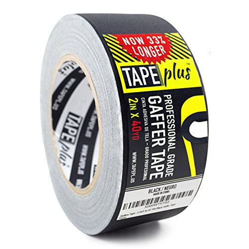 Gaffers Tape - 2 Inch by 40 Yards in Black - Get 33% More! High End Professional Grade - Gaffer Tape is the Perfect Alternative to Duct Tape, Electrical Tape, ()