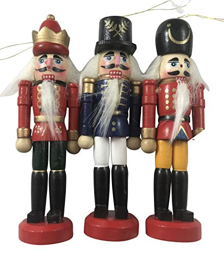 Its in the Bag Wooden Nutcracker Christmas Ornament Hand Painted Wood Tree Decoration Set of 3