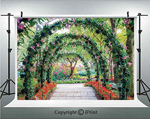 Country Home Decor Photography Backdrops Flower Arches with Pathway in Ornamental Plants Garden Greenery Romantic Picture,Birthday Party Background Customized Microfiber Photo Studio Props,8x8ft,Green -