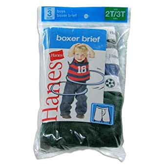 Hanes Toddler Boys' Boxer Briefs 3-Pack, 4-Assorted