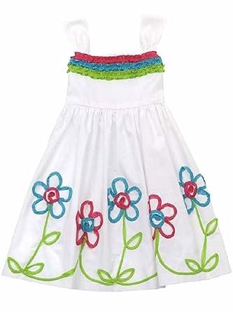 ed3438398d Amazon.com  Rare Editions Girls White Soutache Flower Sun Spring Summer  Dress