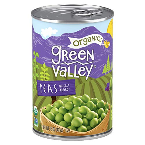 Green Valley Organics Peas | Certified Organic | Non-GMO Project Verified | Deliciously Succulent | 15 ounce can (Pack of 12)