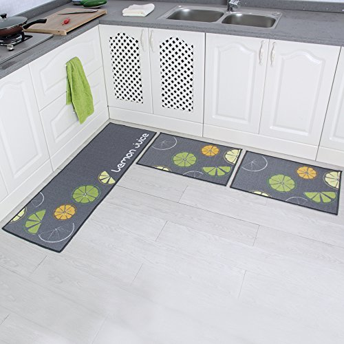 "Carvapet 3 Piece Non-Slip Kitchen Mat Rubber Backing Doormat Runner Rug Set, Lemon Design (Grey 15""x47""+15""x23"")"