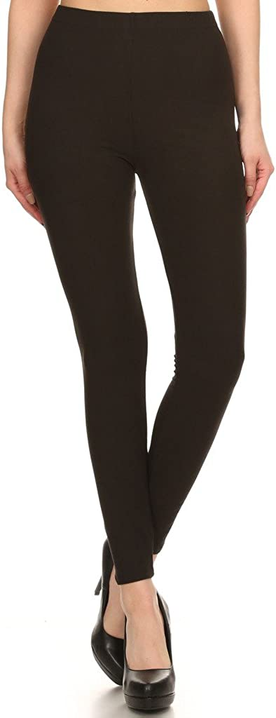 2ND DATE Women's Solid Brushed Leggings -Stretchy Smooth Comfortable