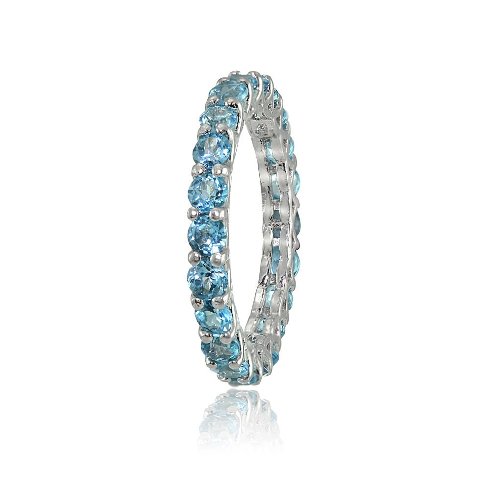 Ice Gems Sterling Silver Swiss Blue Topaz 3mm Round-Cut Eternity Band Ring