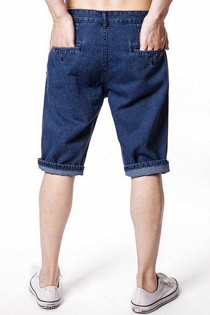 Fensajomon Men Summer Casual Washed Straight Leg Regular Fit Flat-Front Denim Shorts Jeans