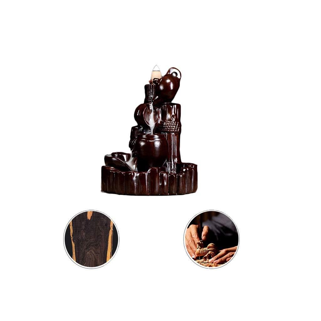 ホームアロマバーナー 逆流香新古典香炉木製黒檀香バーナーアロマテラピー炉 アロマバーナー (Color : Black and ebony) B07TG8BT2M Black and ebony