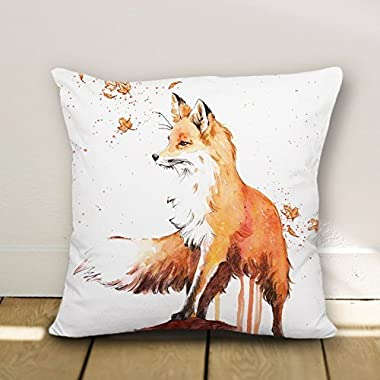 wendana Fox accent Pattern Throw Pillow Covers Decorative Cushion Covers Canvas Pillowcase 18 x 18