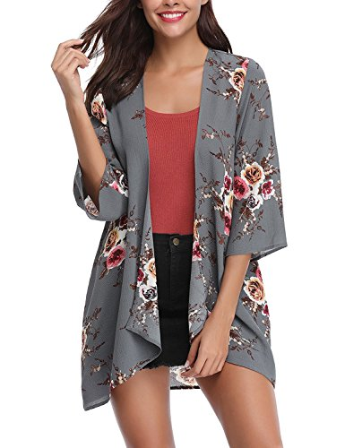 Women's Floral Print Kimonos Loose Tops Half Sleeve Shawl Chiffon Cardigan Blouses Casual Beach Cover Ups (Large, F-Grey)