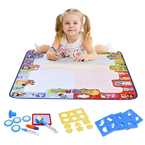 Aqua Magic Water Doodle Drawing Mat for Toddlers Large Size 30.7x30.7 inches Perfect Educational Toys for 2 Years and Above with Extra Accessories 21 Pcs