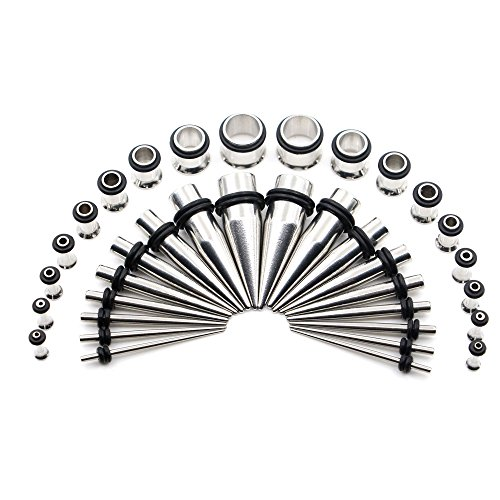 Awinrel 36 Pieces Ear Gauges Stretching Kit Taper Stainless Steel Single Flare Tunnel Plugs Eyelet 14G-00G and 36 pcs O-ring Extra Set Silver