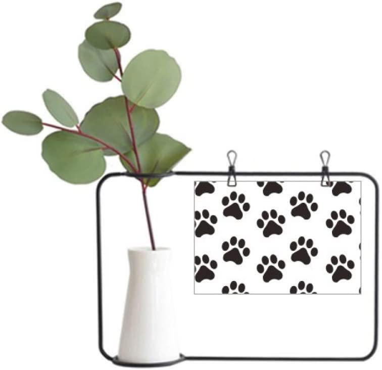 DIYthinker Cat Animal Cute Paw Print Silhouette Footprint Metal Picture Frame Ceramic Vase Decor