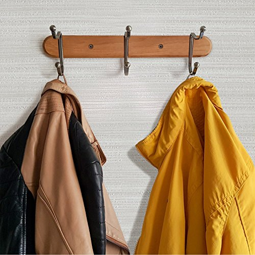 Tatkraft Charm Wall Coat Rack Wooden Hook Rail with 3 Heavy Duty Double Hooks, Made of Steel Coated with Bronze by Tatkraft