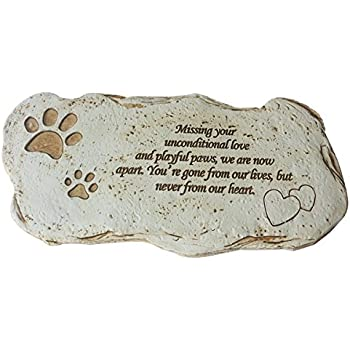 Pet Loss Gifts, Hand-printed Pet Memorial Stones with Tribute Poem for Outdoor Garden, Backyard, or Lawn. JHP (white)