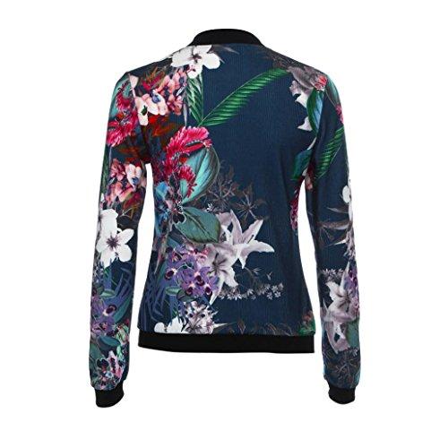 Bring Floral Bomber Automne Fleur Imprimer Manteaux Up Femme Zipper Chic Bleu lgant Fonc Veste 08wx0qPt