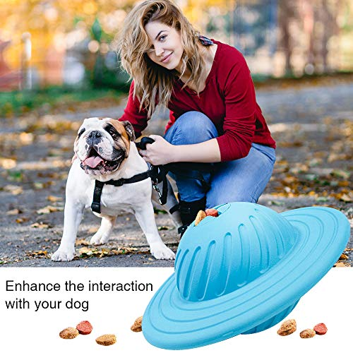 RUCACIO Dog Treat Toy IQ Interactive Puzzle Feeder Ball Interactive Food Dispensing Natural Rubber Puppy Toys for Boredom Fit Small Medium Dogs(10-70LBs)