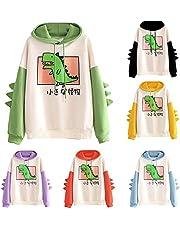 Kawaii Dino capuchontrui voor dames, tieners, meisjes, hoodie, pullover met capuchon, dinosaurus, sweatshirt met lange mouwen, bovenstuk, top zonder zakken, buitenkleding